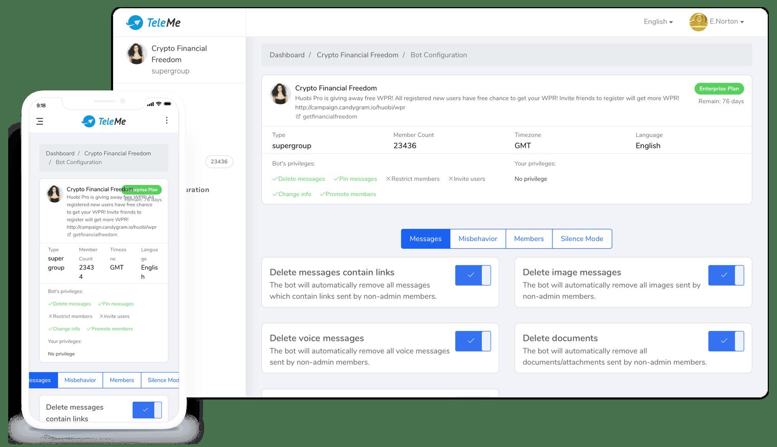 TeleMe - No  1 Telegram Bot for Group Management & Analytics